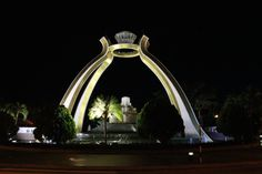 The largest Diamond Replica in the world on the Crystal Arch at Jerudong Park.   [It is said the diamond replica is modelled after the ring the Sultan of Brunei gave to his first wife.(wikipedia)]