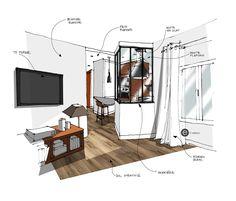Verrière cuisine sur salon. Croquis architecture intérieure- Réalisé par Dominique JEAN pour EDECO Rénovation