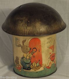 "RARE Art Deco Money Box Biscuits Tin Figural Mushroom Lucy Attwell ""Fairy House"" 
