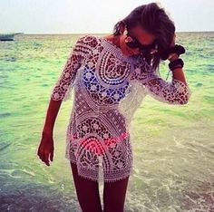 The Vogue Fashion: White Lace Beach Cover Up