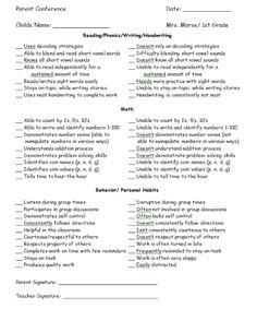 Parent Conference Checklist