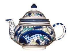 Amazon.com: Le Souk Ceramique AF-56 Teapot, Aqua Fish Design: Kitchen & Dining