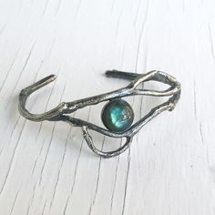 Twig & Vine Cuff (Labradorite in Silver) by Chase and Scout. Curious handmade jewelry for men and women, based in Austin Texas.