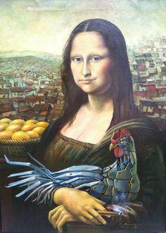 Monalisa con la gallina de los huevos de oro [Guillermo Peña (Makam Art)] (Gioconda / Mona Lisa)