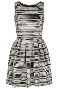 Fall Trend: High Collar Fit and Flare Dress Stripe Jaquard Skater Dress - Fit & Flare Dresses - Dresses  - Clothing