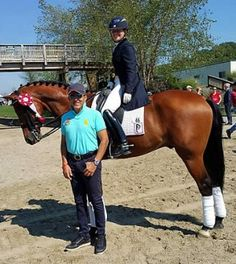 Cesar Parra with Katie Riley aboard Toy Story after their second placing debut in the Intermediate I at the 2015 NEDA Fall Festival #dressage