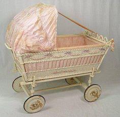 Antique silk dressed, wicker baby bassinet . ca. 1910-20