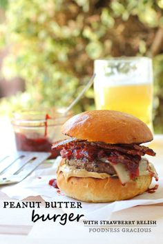 Peanut Butter Burger with a Savory Strawberry Balsamic Relish | Foodness Gracious