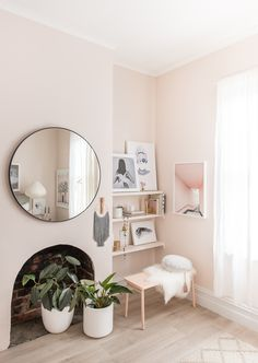 We love a pink scheme and this one is all kinds of cute. Find inspiration for finding similar artwork in the latest episode of The Real Homes Show. Pastel Interior, Pretty Pastel, Cleaning Hacks, Gallery Wall, Interiors, Living Room, Feels, Blush, Friday