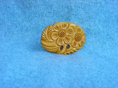 """Bakelite Carved Brooch Flower Vintage 3"""" Catalin Butterscotch Yellow Large Pansy Pin Art Deco Jewelry by Kissisjustakiss on Etsy"""