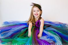 Peacock wedding ideas. 20% OFF with code SAVEME20 Flower Girl Tutu Dress in Couture Peacock. $127.00, via Etsy.