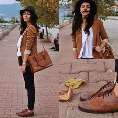 Pull & Bear Blazer, Zara Blouse, Vintage Bag, Pull & Bear Shoes, Yargıcı Hat, H&M Bracelet