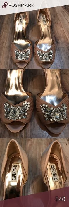 Badgley Mischka pink satin heels Gently used pink satin heels with jewel detail. Badgley Mischka Shoes Heels
