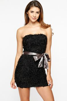 8dfc6b1a6d9 Black Ruffled Satin Bow Strapless Dress   Cicihot sexy dresses