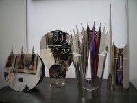 Four Gio Ponti, Christofle/Sabattini, silver plated masks. Gio Ponti, Knife Block, Silver Plate, Plating, Accessories, Masks, Silverware Tray, Ornament, Face Masks