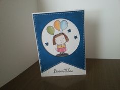 Birthday Card with Penny Black Betsy Bluebell stamp colored with distress inks