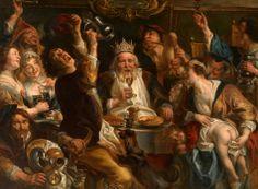 Jacob Jordaens: le roi boit Ce tableau (ces, plutôt, le Petit Palais en montre trois versions) raconte la fête de l'épiphanie, dans un registre qui prouve que la vie en Flandres n'était pas réellement triste. Et que la famille Jordaens était unie : le roi, c'est son beau-père, le peintre Adam Van Noort. Jordaens, lui, s'est représenté vomissant en bas à gauche...