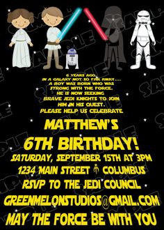 Star Wars Scroll Jedi Birthday Party Printable Invitations UPrint Customized Card By Greenmelonstudios Laser Tag
