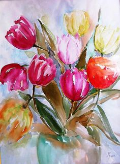 Tulips Painting - Tulips by Hedwig Pen