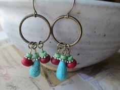 Turquoise Earrings Brass Hoop Earrings Blue Green Red Turquoise Earrings Southwest Earrings Dangle Earrings by MillyLillyDesigns on Etsy