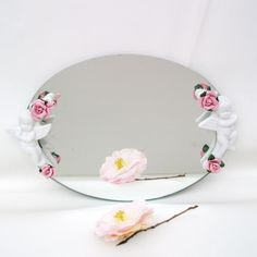 Vintage Mirror Dresser Tray Vanity Tray Cherubs Oval Mirrored Perfume Tray Pink Roses White Angels on Etsy, $37.95