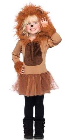 Leg Avenue, Enchanted Costume, Cuddly Lion Children's Costume, Cuddly Lion, features zipper front petticoat dress with fur trimmed sleeves and attached furry lion mane hood.