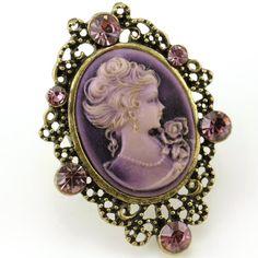 Biggest Plum Purple Cameo Ring Vintage Antique Bronze Tone Adjustable Size Band Designer Women Lady Fashion Jewelry