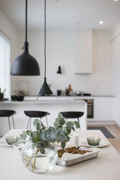 And those eucalyptus branches. Lamp Inspiration, Living Room Inspiration, White Interior Design, Interior Design Kitchen, Contemporary Rustic Decor, Pastel Decor, Kitchen Cabinet Remodel, Dining Table Design, Transitional Decor