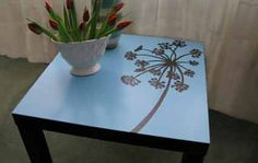 Reverse Stenciling on Furniture. good repurpose of an ikea table. Furniture Projects, Furniture Makeover, Diy Furniture, Diy Projects, Repurposed Furniture, Ikea Side Table, Ikea Lack Table, Side Tables, Redo End Tables