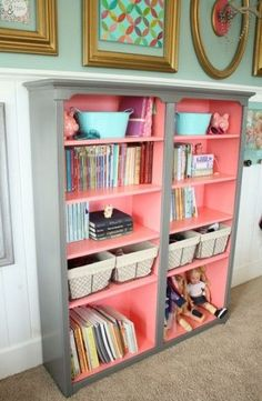 One color on the outside and another in the inside of a book case! Paint the inside of my wood ones red!!