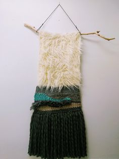 By the Lake. Weaving, wool, faux fur and branch. Diva Fashion, Gold Paint, Wood Blocks, Wooden Boxes, Dressmaking, Textile Art, Fiber Art, Faux Fur, Sewing Patterns