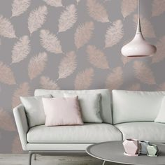 Transform any room with this delightful rose gold feather wallpaper from the Reflect Wallpaper Collection. Available at Go Wallpaper UK. Home Living Room Wallpaper, Hallway Wallpaper, Wallpaper Decor, Wallpaper Design For Bedroom, Wallpaper Designs For Walls, Livingroom Wallpaper Ideas, Bedroom Feature Wallpaper, Geometric Wallpaper Living Room, Salon Wallpaper