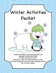 Winter Break Math and Reading Homework Packet. 10 Activities