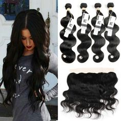 8A Mink Brazilian Body Wave With Closure 4 Bundles With Lace Frontal Human Hair Queen Hair Products With Closure Bundle
