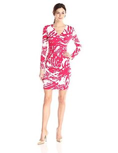 a1be9fba6b822 Calvin Klein Women's Side Ruched Faux wrap Dress, Lagoon Multi, 16 at Amazon  Women's Clothing store: