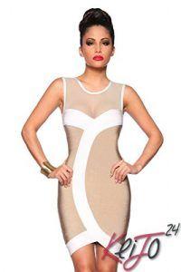 Cocktail Sexy Shape robe bandage Mini Party Dress Clubwear stretch Robe, Farbe:Beige/Weiß