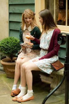 """Spring Garden"" Lace Collar Floral Tea Dress in Beige and Green Stripe by Miss Patina - I love these outfits!"