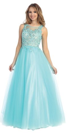 A beautiful sleeveless, floor length ball gown with lace and gem embelished bodice