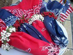 July 4th Patriotic Napkin Idea.  Red and Blue Bandanda Napkins.