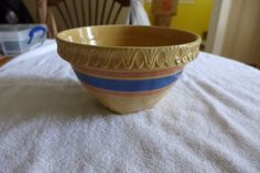 """8"""" McCoy Yellow Ware Mixing Bowl Banded Pink and Blue"""