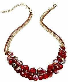 c.A.K.e. by Ali Khan Necklace, Gold-Tone Pomegranate Glass Bead Cluster Multi-Chain Necklace