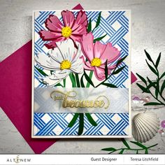 Oriental Flowers, Cosmos Flowers, Altenew Cards, Card Companies, Marker Art, Watercolor Background, Flower Cards, I Card, Projects To Try