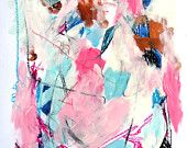 """Original Abstract Mixed Media Painting Blue, Pink, Black, """"Introspection"""""""