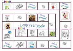 jeu de quantités jusquà 6 Loup va à lécole (plan de jeu + dés + pions) French Learning Games, Learn French, Preschool, Projects To Try, Bullet Journal, Activities, Education, Blog, Short Stories