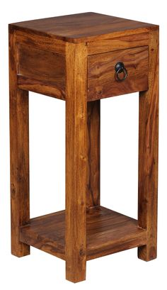 Sheesham Massivholz Beistelltisch Telefontisch 30 X 30 X 65 Cm Mit Schublade