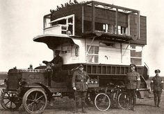 WWI - Britain in Northern France and Belgium: Specially trained homing pigeons delivered messages from the front right to this B-type bus converted into a pigeon loft for use in the war.