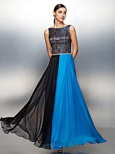 TS Couture® Formal Evening Dress Plus Size / Petite Sheath / Column Jewel Floor-length Chiffon with Lace / Sash / Ribbon