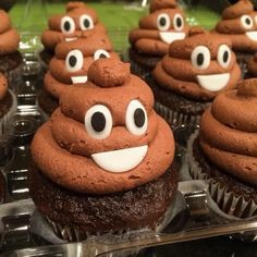 Poop emoji cupcakes. Fondant eyes and mouth. Used a large round icing tip for chocolate buttercream swirl.