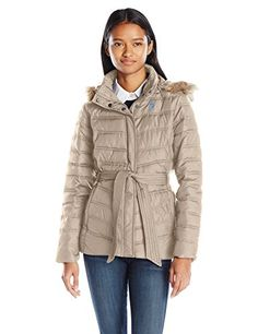 Cinch-waist faux-down coat with faux-fur trim and hood. * Learn ...