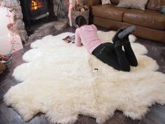 This Genuine Natural creamy white Sheepskin Rug Pelt Giant is just one of the custom, handmade pieces you'll find in our Floor & Rugs shops. Sheepskin Throw, Ikea Sheepskin, Natural Sleep, Natural Rug, Animal Breeding, Fur Rug, Baby Carriage, Natural Shapes, Futons